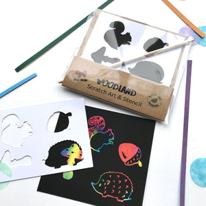 Woodland scratch art pack with compostable packaging