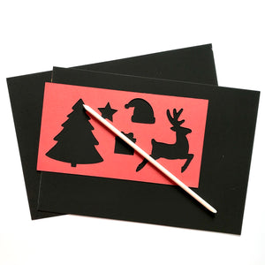 2 larger scratch art sheets with scratch tool and card Christmas stencil.