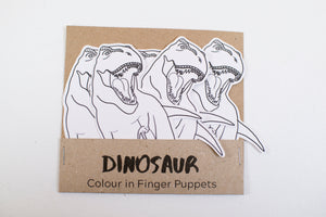 Pack of dinosaur colour in finger puppets