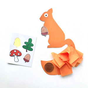 Balancing red squirrel craft kit with woodland stickers