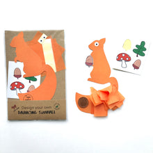 Load image into Gallery viewer, Balancing squirrel eco craft kit with woodland stickers and compostable packaging