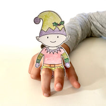 Load image into Gallery viewer, Colour in elf finger puppet stocking stuffer