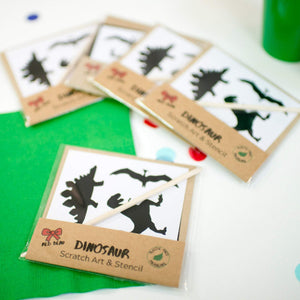 5 Dinosaur scratch art party favours