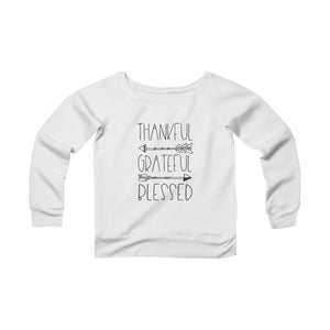 Thankful Grateful Blessed Off the Shoulder Women's Sponge Fleece Wide Neck Sweatshirt