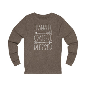 Thankful Grateful Blessed Unisex Jersey Long Sleeve Tee