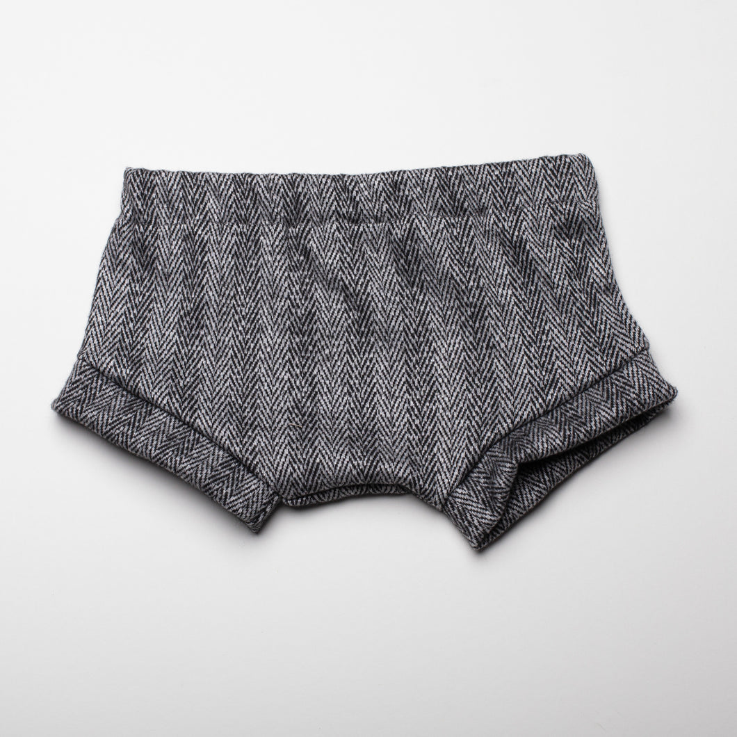 Gray Herringbone Shorties