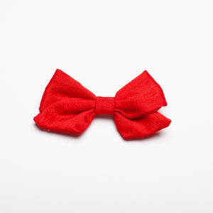 "Bright Red Silk Nubby 3"" Kate Bow"