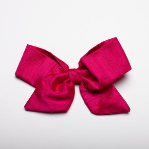 "Berry Nubby Silk 5"" Large Kate Bow"