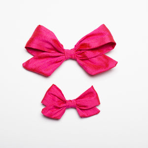 "Fushia Nubby Silk 5"" Large Kate Bow"