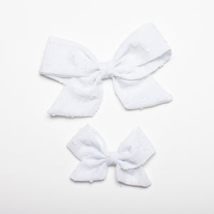 "Swiss Dot Bright White 5"" Large Kate Bow"