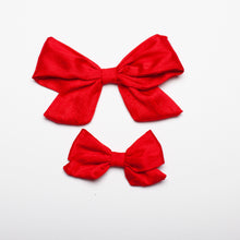 "Load image into Gallery viewer, Bright Red Nubby Silk 5"" Large Kate Bow"