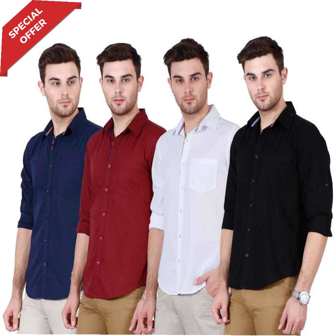 Men's Solid Casual Slim Shirt  (Pack of 4)