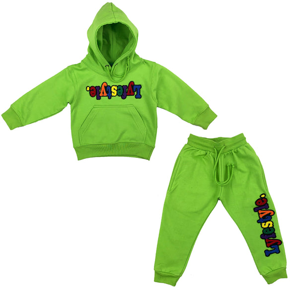 Toddlers Lime Green Multicolor Lyfestyle Sweatsuit