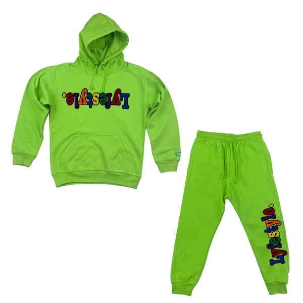 Kids Lime Green Multicolor Lyfestyle Sweatsuit