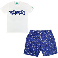 Royal Blue Paisley Short Set