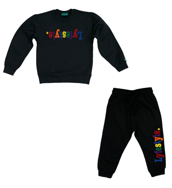 Toddlers Black Multicolor Lyfestyle Crewneck Sweatsuit