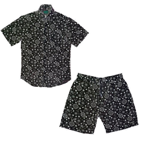 Black Paisley Short Set