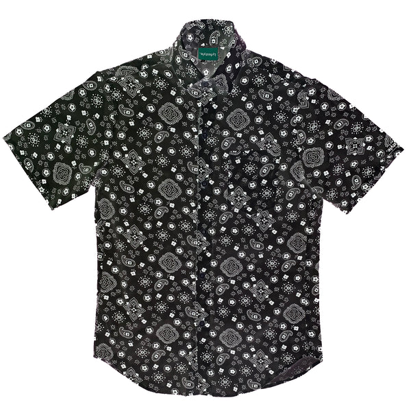 Black Paisley Button-Up Shirt