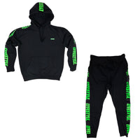 Black & Lime Green Lyfestyle Tape Sweatsuit