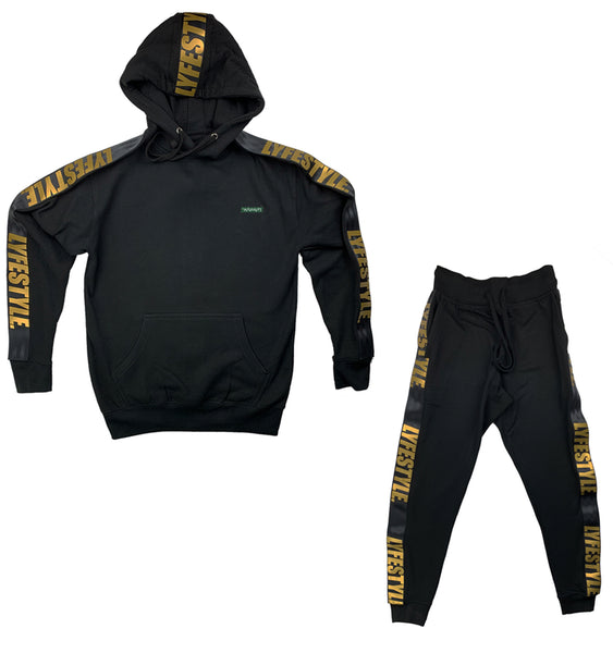 Black & Gold Lyfestyle Tape Sweatsuit