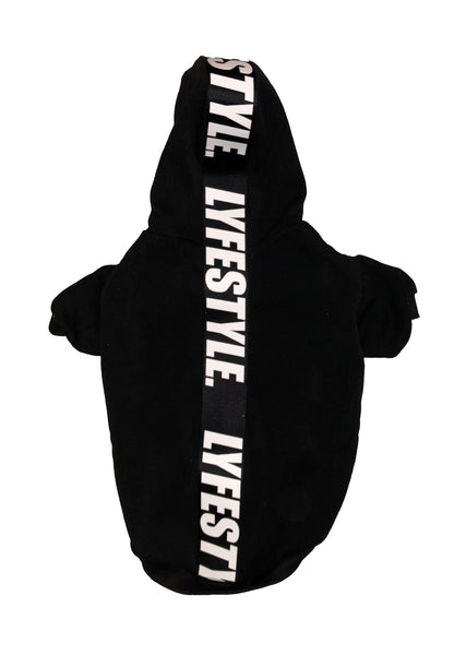 Black & White Lyfestyle Tape Dog Hoody