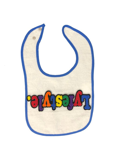 White w. Blue Trim Baby Bib