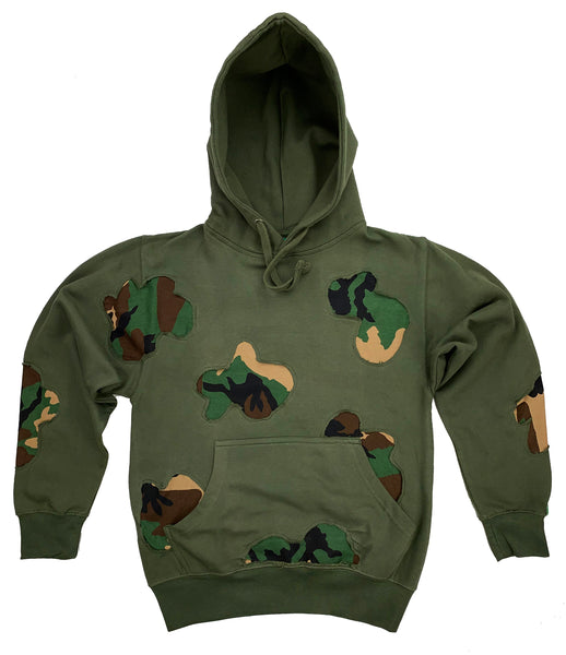 Distressed Olive Green Camo Lyfestyle Hoodie