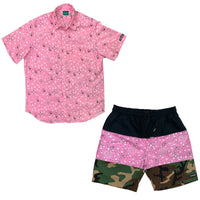 Black / Pink Paisley / Camo Tricolor Shorts Set