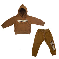 Toddlers Tan w/ Brown Lyfestyle Sweatsuit