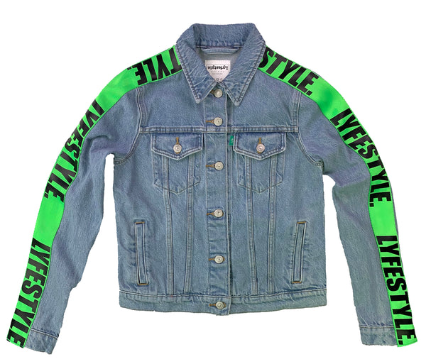 Womens Neon Green Lyfestyle Tape Jean Jacket