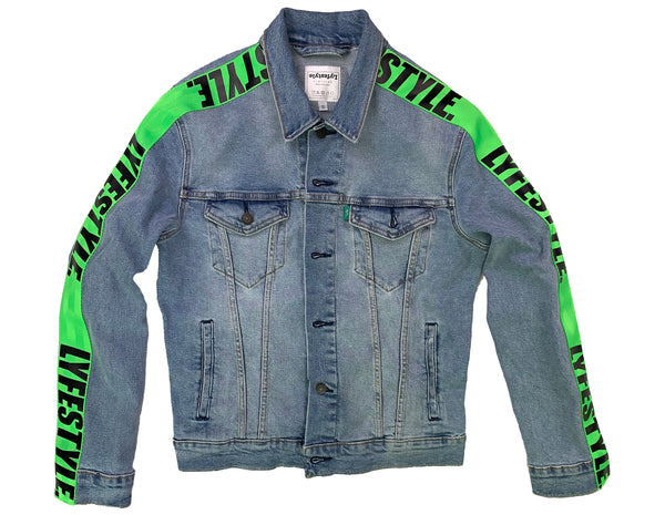 Neon Green Lyfestyle Tape Jean Jacket
