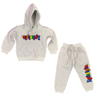 Toddlers Grey Multicolor Lyefestyle Sweatsuit