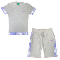 Purple & White Lyfestyle Tape Short Set