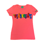 Womens Pink Multicolor Lyfestyle Tee