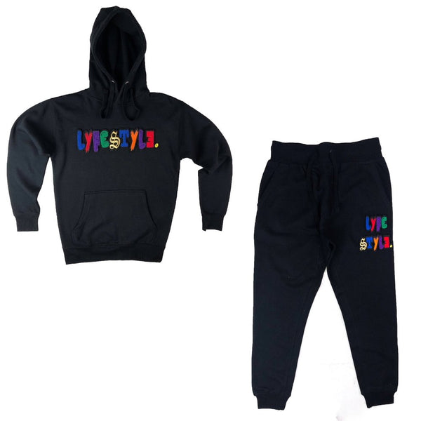 "Black ""Mixed-Up"" Multicolor Lyfestyle Sweatsuit"