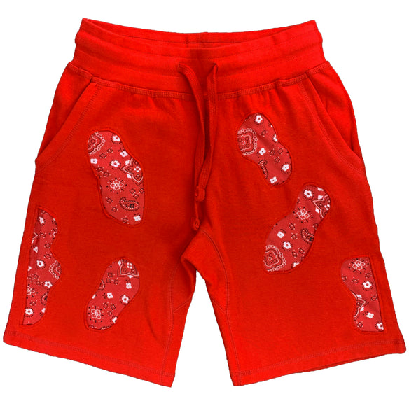Distressed Red Bandana Lyfestyle Shorts