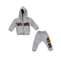 Infants Grey Multicolor Lyfestyle Hoody Sweatsuit