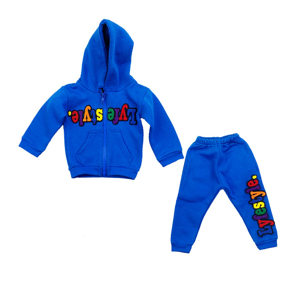 Infants Royal Blue Multicolor Lyfestyle Hoody Sweatsuit