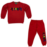 Kids Red Multicolor Lyfestyle Crewneck Sweatsuit