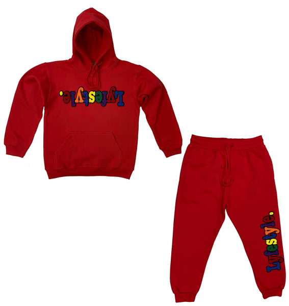 Kids Red Multicolor Lyfestyle Hoody Sweatsuit