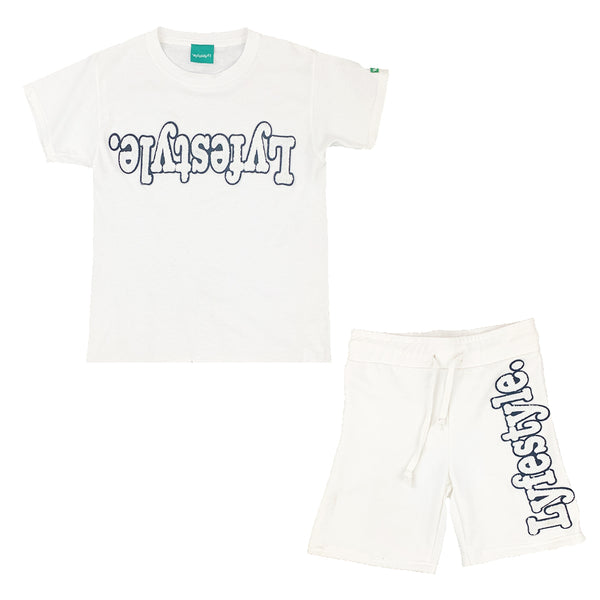 Kids White w/ Black Lyfestyle Short Set