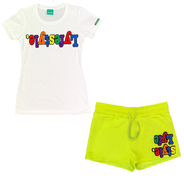 Womens Kiwi Green Multicolor Lyfestyle Short Set