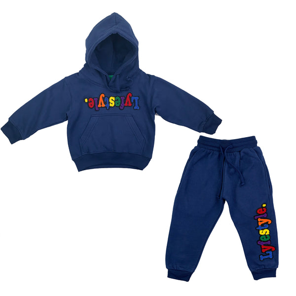 Toddlers Navy Blue Multicolor Lyfestyle Sweatsuit