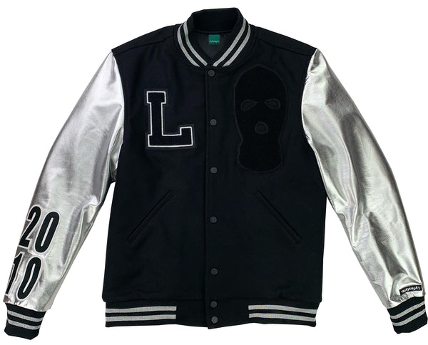 "Black / Silver ""Ski Mask Way Varsity"" Jacket"