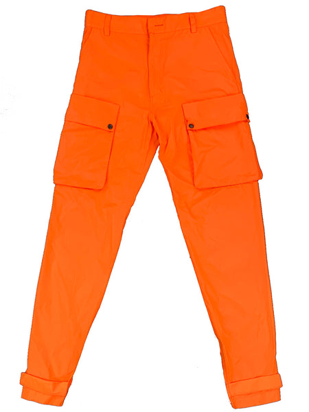 Neon Orange Nylon 10-PF Cargo Pants