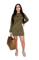 Women's Olive Green Lyfestyle Sweater Dress