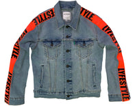 Womens Neon Orange Lyfestyle Tape Jean Jacket