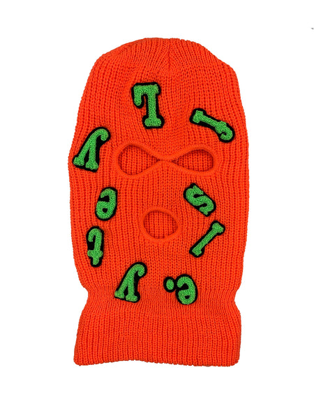 Neon Orange w/ Lime Green Lyfestyle Fallen Letters Ski Mask