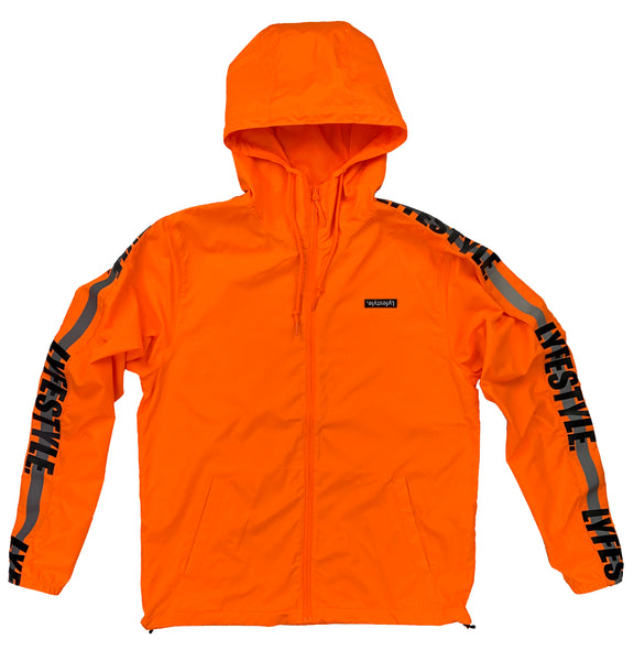 "Neon Orange ""Construction Zone"" Windbreaker Jacket"