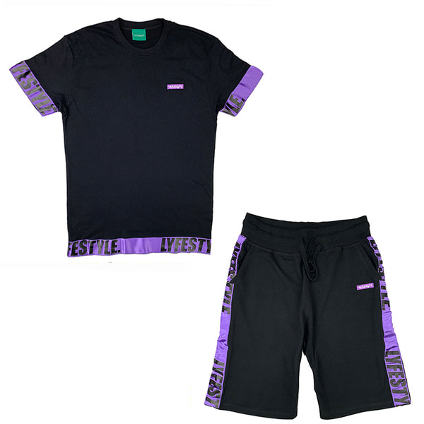 Purple & Black Lyfestyle Tape Short Set